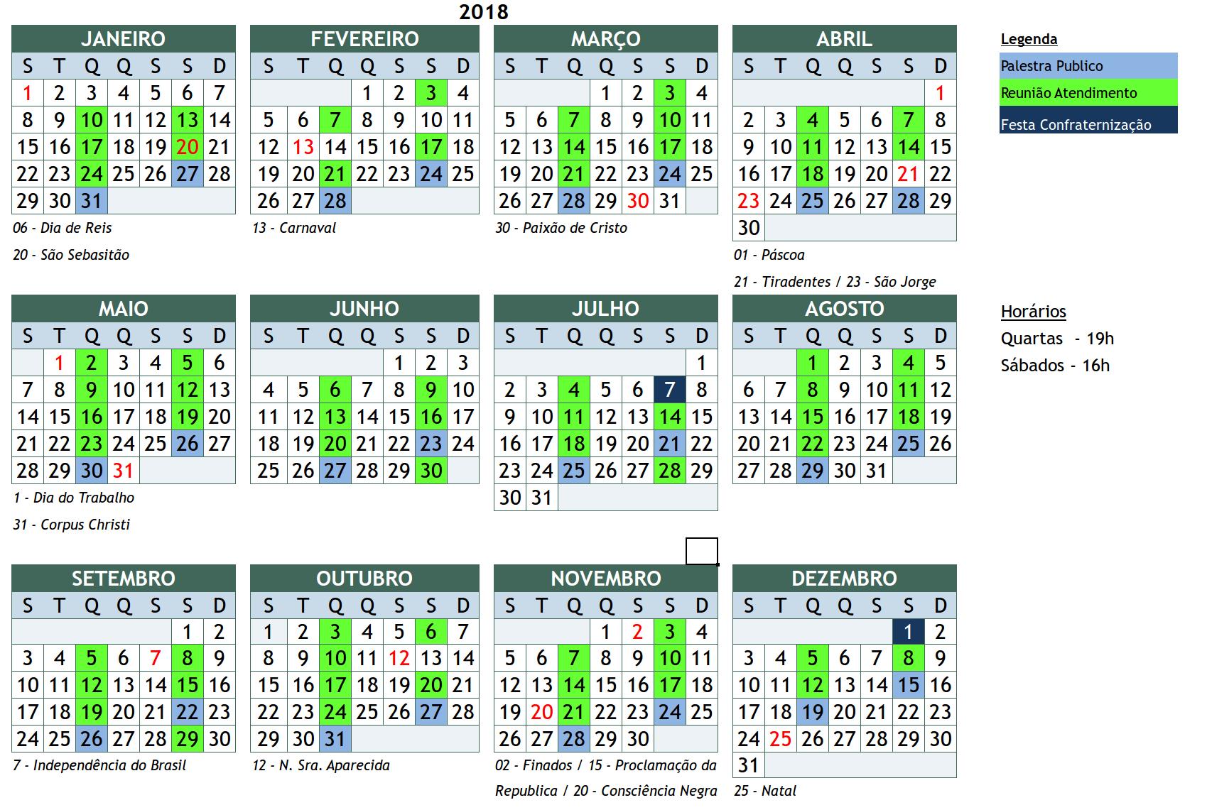 Imagem do calendário de reuniões do ano de 2017